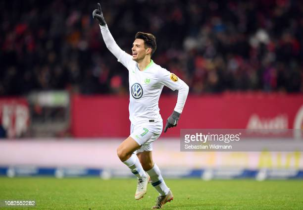 Josip Brekalo of Wolfsburg celebrates his team's second goal during the Bundesliga match between 1 FC Nuernberg and VfL Wolfsburg at...