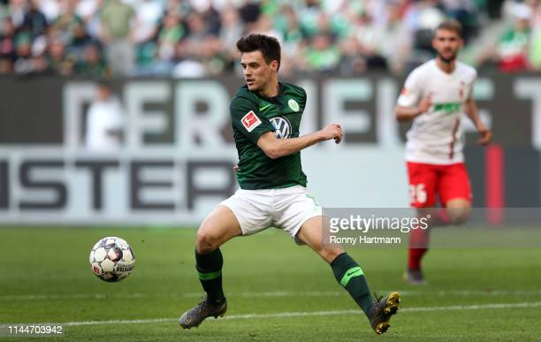 Josip Brekalo of Wolfsburg controls the ball during the Bundesliga match between VfL Wolfsburg and FC Augsburg at Volkswagen Arena on May 18 2019 in...