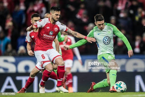 Josip Brekalo of Wolfsburg scores his side's first goal against Danny Latza of Mainz during the Bundesliga match between 1 FSV Mainz 05 and VfL...