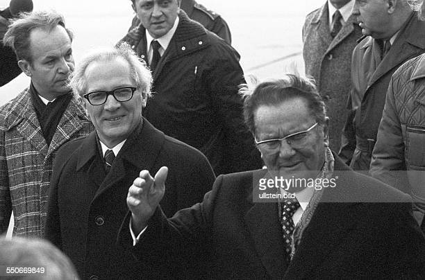 Josip Broz Tito President of Yugoslavia on a state visit to the GDR to the left Erich Honecker General Secretray of the SED party