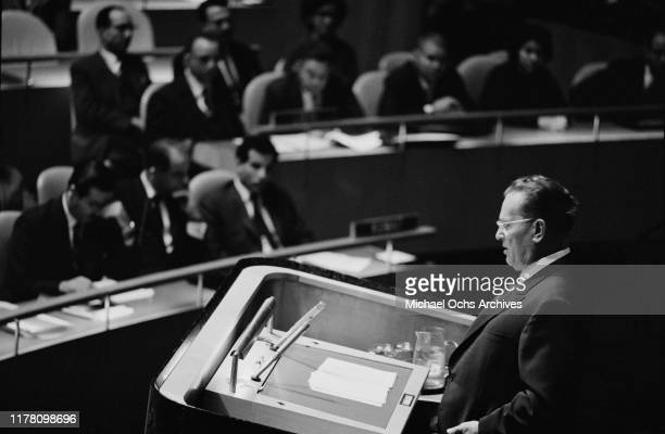 Josip Broz Tito the President of Yugoslavia addresses the United Nations General Assembly in New York City October 1963