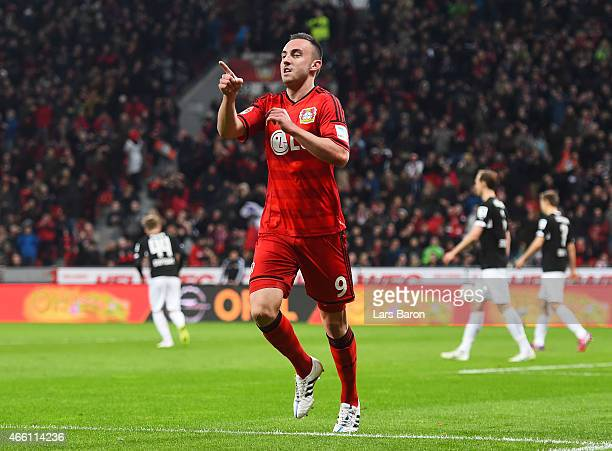 Josip Drmic of Bayer 04 Leverkusen celebrates after scoring the second goal during the Bundesliga match between Bayer 04 Leverkusen and VfB Stuttgart...