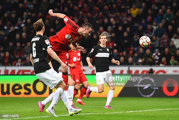 Josip Drmic of Bayer 04 Leverkusen scores the second goal during the Bundesliga match between Bayer 04 Leverkusen and VfB Stuttgart at BayArena on...