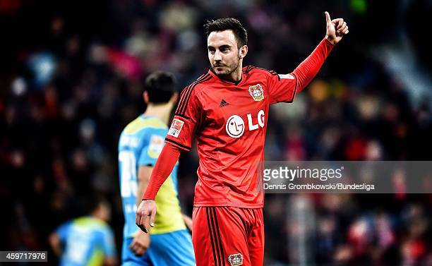 Josip Drmic of Bayer Leverkusen gestures during the Bundesliga match between Bayer Leverkusen and 1 FC Koeln at BayArena on November 29 2014 in...