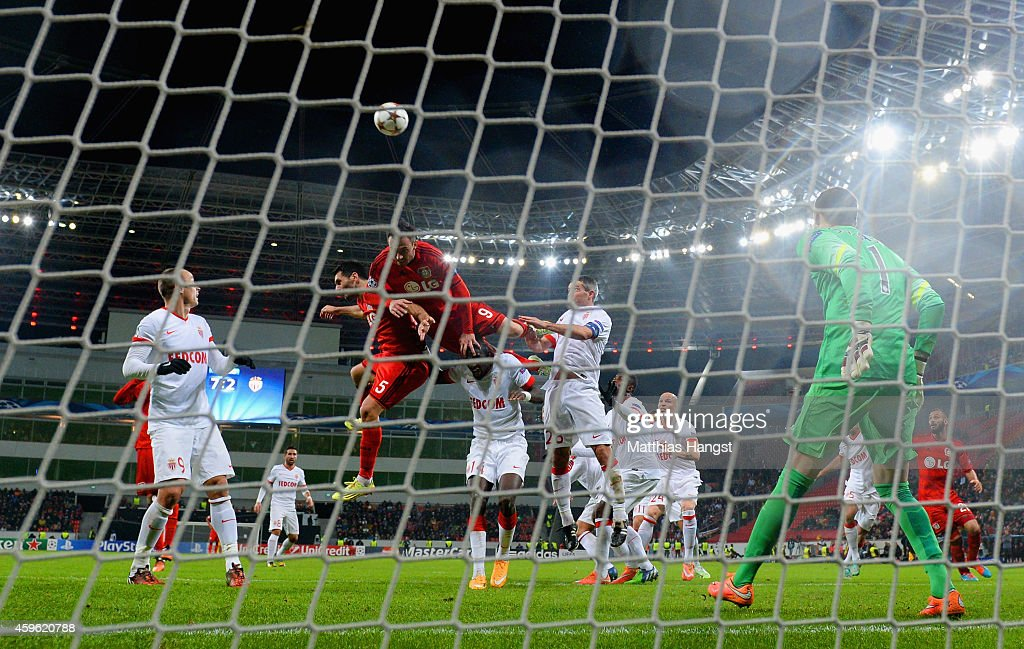 Josip Drmic of Bayer Leverkusen misses a chance on goal during the UEFA Champions League group C match between Bayer 04 Leverkusen and AS Monaco FC at BayArena on November 26, 2014 in Leverkusen, Germany.