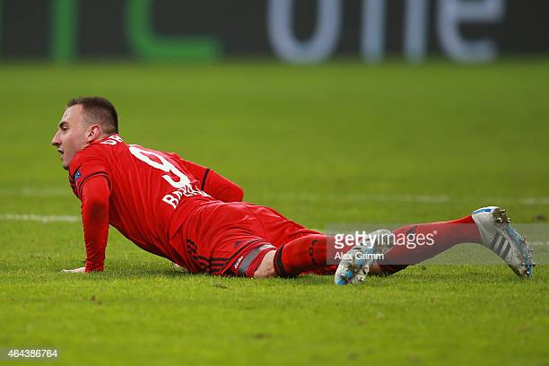 Josip Drmic of Bayer Leverkusen reacts during the UEFA Champions League round of 16 match between Bayer 04 Leverkusen and Club Atletico de Madrid at...