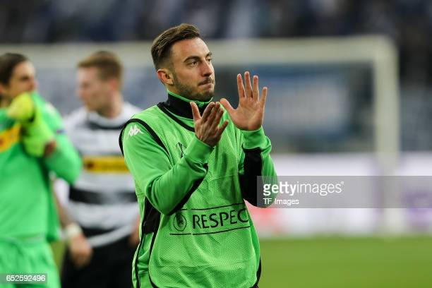 Josip Drmic of Borussia Moenchengladbach gestures during the UEFA Europa League Round of 16 first leg match between FC Schalke 04 and Borussia...