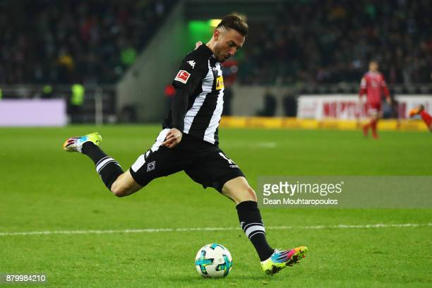 Josip Drmic of Borussia Monchengladbach in action during the Bundesliga match between Borussia Moenchengladbach and FC Bayern Muenchen at...