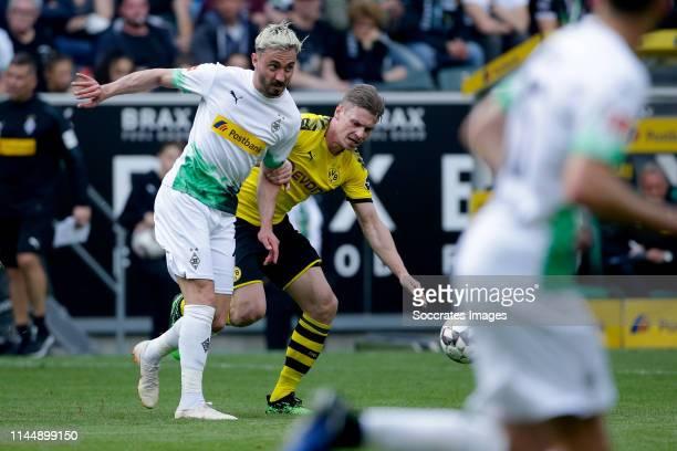 Josip Drmic of Borussia Monchengladbach, Lukasz Piszczek of Borussia Dortmund during the German Bundesliga match between Borussia Monchengladbach v...