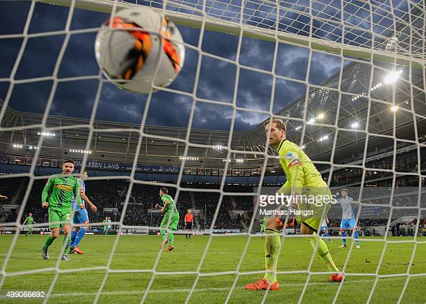 Josip Drmic of Gladbach scores his team's second goal during the Bundesliga match between 1899 Hoffenheim and Borussia Moenchengladbach at Wirsol...
