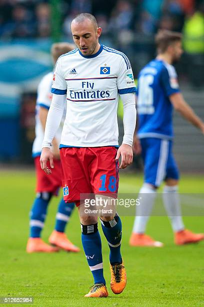 Josip Drmic of Hamburg appears frustrated during the First Bundesliga match between Hamburger SV and FC Ingolstadt at Volksparkstadion on February 27...