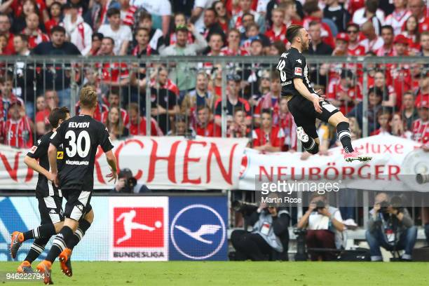 Josip Drmic of Moenchengladbach celebrates after he scored a goal to make it 01 during the Bundesliga match between FC Bayern Muenchen and Borussia...