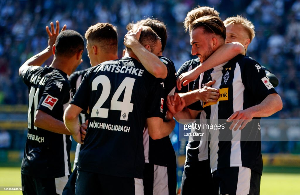 Josip Drmic of Moenchengladbach celebrates after scoring his teams third goal during the Bundesliga match between Borussia Moenchengladbach and Sport-Club Freiburg at Borussia-Park on May 5, 2018 in Moenchengladbach, Germany.