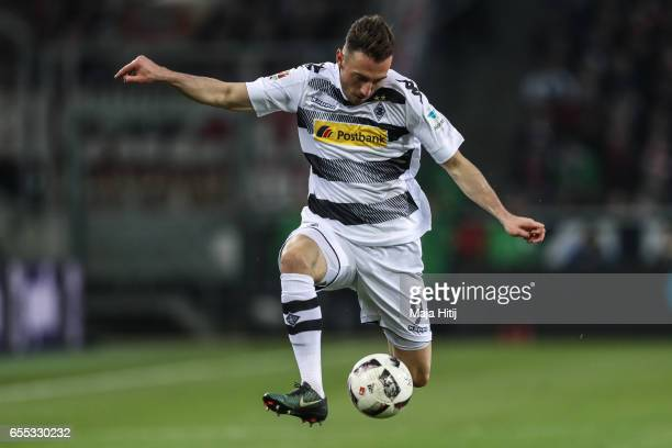 Josip Drmic of Moenchengladbach controls the ball during the Bundesliga match between Borussia Moenchengladbach and Bayern Muenchen at BorussiaPark...