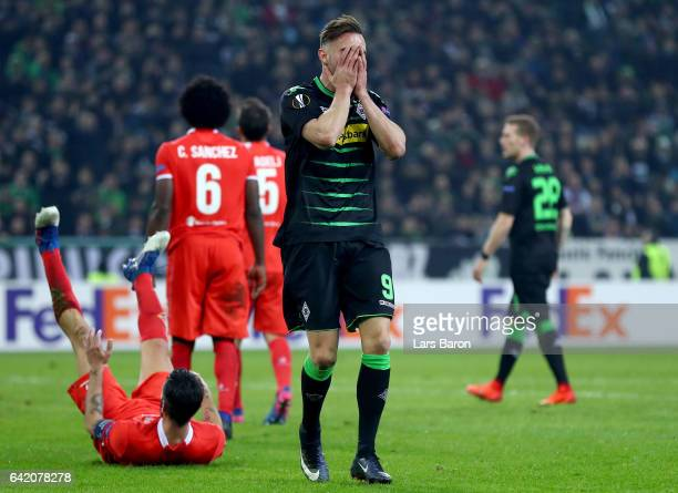 Josip Drmic of Moenchengladbach reacts during the UEFA Europa League Round of 32 first leg match between Borussia Moenchengladbach and ACF Fiorentina...