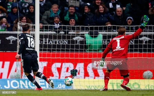 Josip Drmic of Moenchengladbach scores his teams first goal during the Bundesliga match between Borussia Moenchengladbach and TSG 1899 Hoffenheim at...