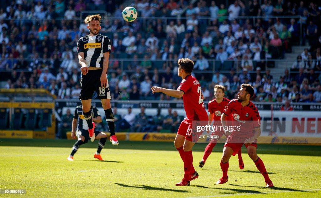 Josip Drmic of Moenchengladbach scores his teams third goal during the Bundesliga match between Borussia Moenchengladbach and Sport-Club Freiburg at Borussia-Park on May 5, 2018 in Moenchengladbach, Germany.