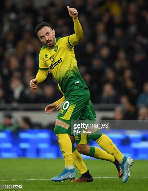 Josip Drmic of Norwich City celebrates after scoring his team's first goal during the FA Cup Fifth Round match between Tottenham Hotspur and Norwich...