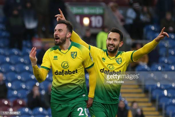 Josip Drmic of Norwich City celebrates after scoring his team's second goal during the FA Cup Fourth Round match between Burnley FC and Norwich City...