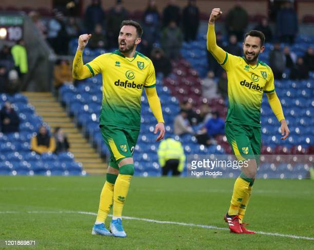 Josip Drmic of Norwich City celebrates with teammate Patrick Roberts after scoring his team's second goal during the FA Cup Fourth Round match...