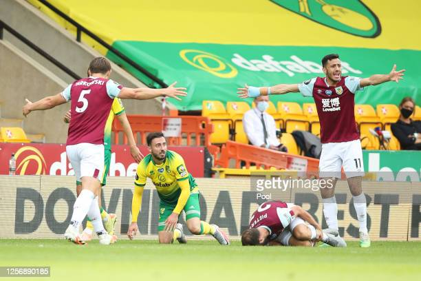 Josip Drmic of Norwich City reacts after Erik Pieters of Burnley goes down injured, leading to him being shown a red card by Match Referee, Kevin...