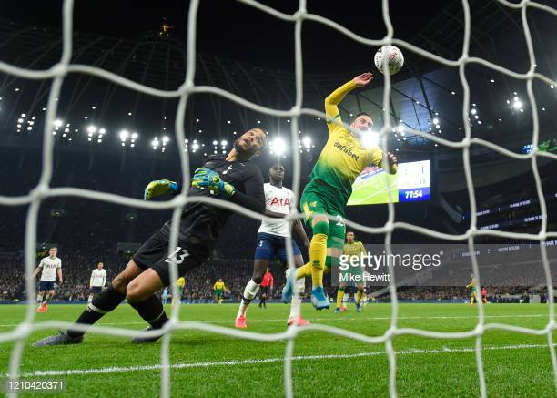 Josip Drmic of Norwich City scores his team's first goal during the FA Cup Fifth Round match between Tottenham Hotspur and Norwich City at Tottenham...