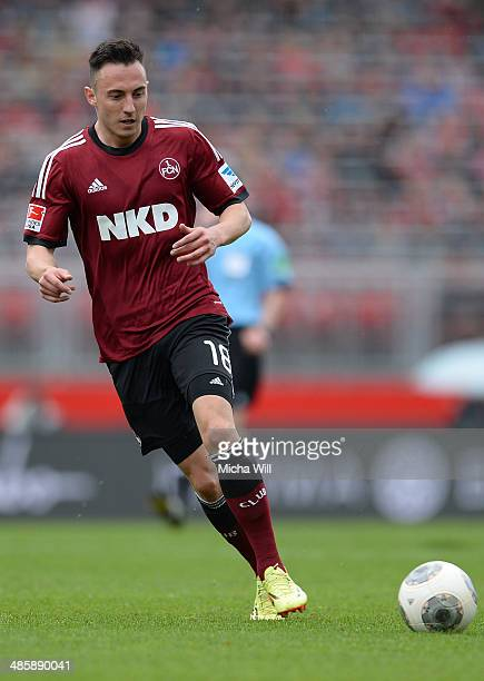 Josip Drmic of Nuernberg runs with the ball during the Bundesliga match between 1 FC Nuernberg and Bayer Leverkusen at Grundig Stadium on April 20...
