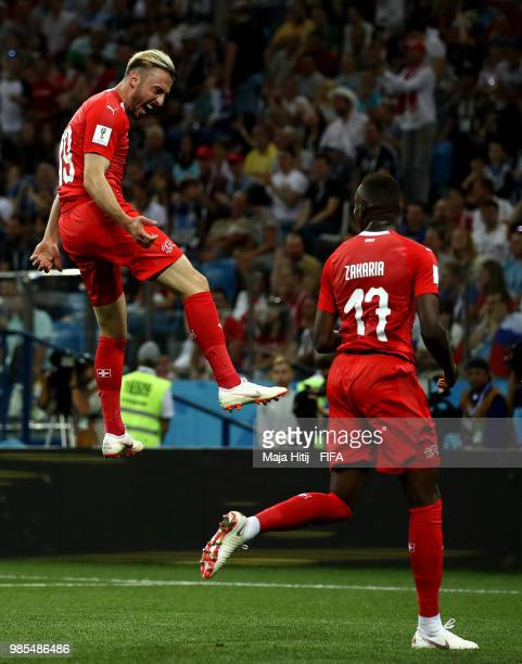Josip Drmic of Switzerland celebrates after scoring his team's second goal during the 2018 FIFA World Cup Russia group E match between Switzerland...