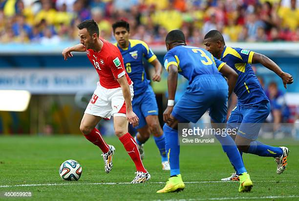 Josip Drmic of Switzerland controls the ball during the 2014 FIFA World Cup Brazil Group E match between Switzerland and Ecuador at Estadio Nacional...