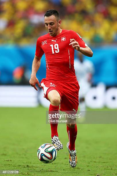 Josip Drmic of Switzerland controls the ball during the 2014 FIFA World Cup Brazil Group E match between Honduras and Switzerland at Arena Amazonia...