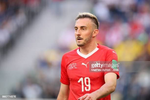 Josip Drmic of Switzerland looks on during the 2018 FIFA World Cup Russia Round of 16 match between Sweden and Switzerland at Saint Petersburg...