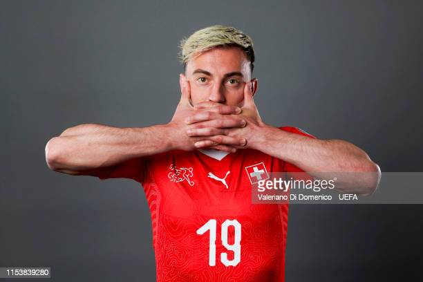 Josip Drmic of Switzerland poses for a portrait during the UEFA Nations League Finals Portrait Shoot on June 02, 2019 in Zurich, Switzerland.