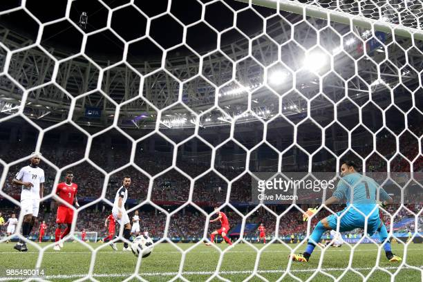 Josip Drmic of Switzerland scores his sides second goal past Keylor Navas of Costa Rica during the 2018 FIFA World Cup Russia group E match between...