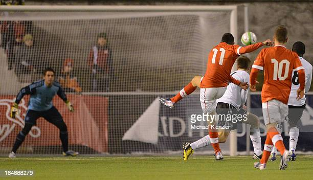 Josip Drmic of Switzerlandscores the second goal during the international friendly match between U20 Switzerland and U20 Germany at Eps Stadium on...