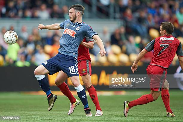 Josip Elez of AGF Arhus compete for the ball during compete for the ball during the Danish Alka Superliga match between FC Nordsjalland and AGF Arhus...
