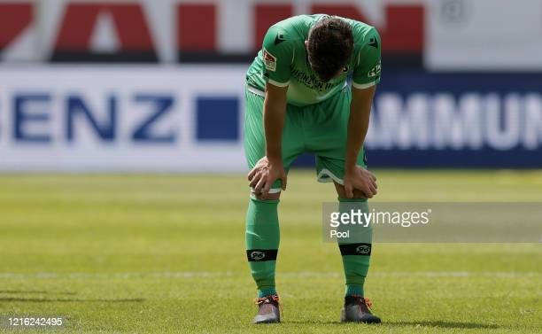 Josip Elez of Hannover reacts after full time during the Second Bundesliga match between SV Sandhausen and Hannover 96 at BWTStadion am Hardtwald on...