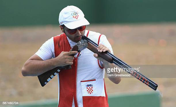 Josip Glasnovic of Croatia competes in the Men's Trap event on Day 3 of the Rio 2016 Olympic Games at the Olympic Shooting Centre on August 8, 2016...