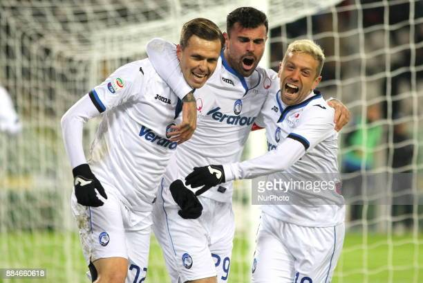 Josip Ilicic celebrates after scoring with Andrea Petagna and Alejandro Gomez during the Serie A football match between Torino FC and Atalanta...