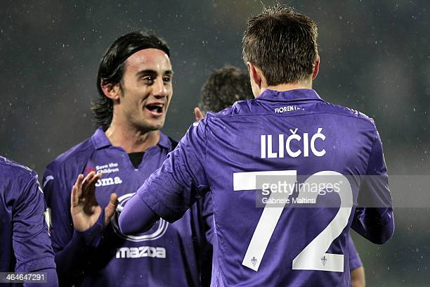 Josip Ilicic of ACF Fiorentina celebrates after scoring a goal during the TIM Cup match between AC Siena and ACF Fiorentina at Artemio Franchi on...