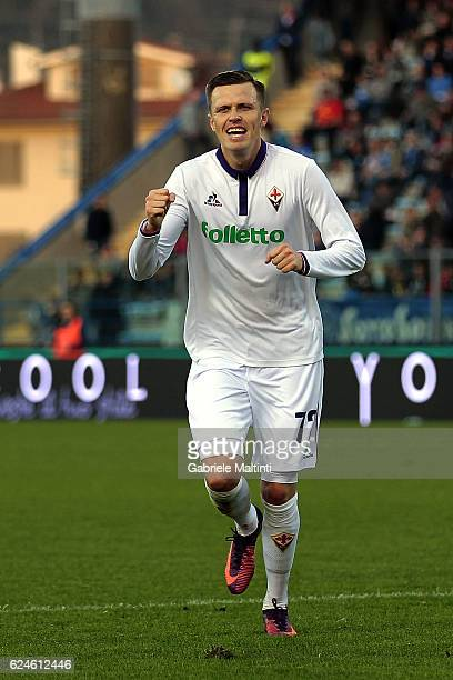Josip Ilicic of ACF Fiorentina celebrates after scoring a goal during the Serie A match between Empoli FC and ACF Fiorentina at Stadio Carlo...