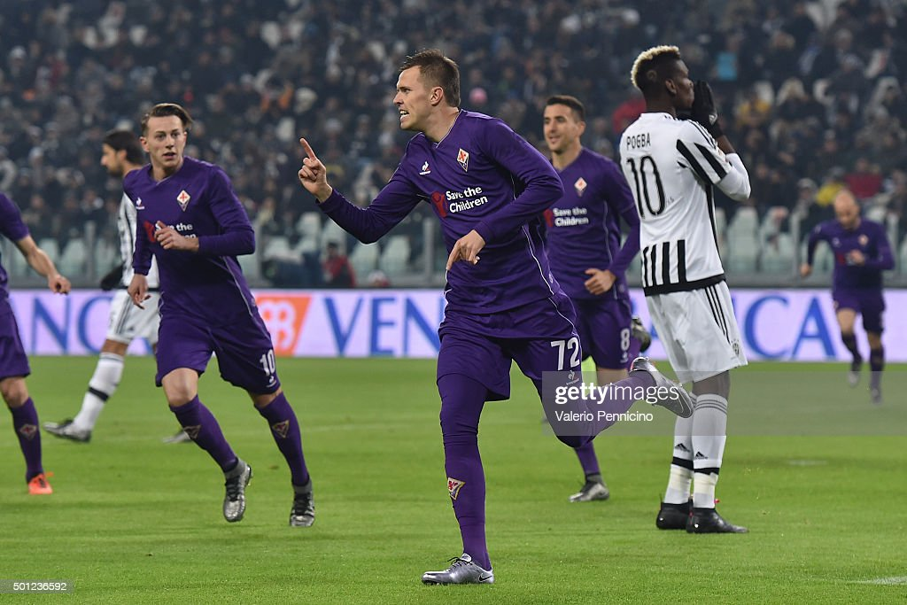 Josip Ilicic of ACF Fiorentina celebrates the opening goal from the penalty spot during the Serie A match betweeen Juventus FC and ACF Fiorentina at Juventus Arena on December 13, 2015 in Turin, Italy.