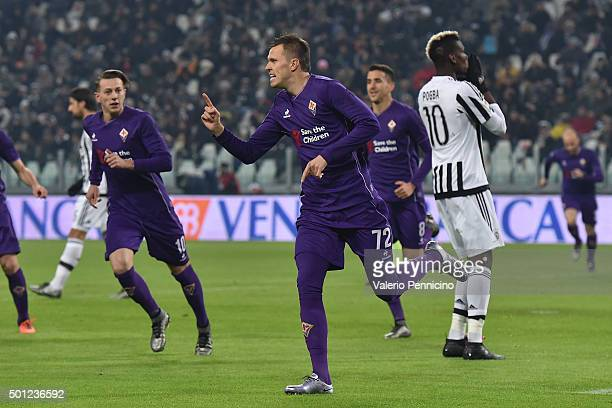 Josip Ilicic of ACF Fiorentina celebrates the opening goal from the penalty spot during the Serie A match betweeen Juventus FC and ACF Fiorentina at...