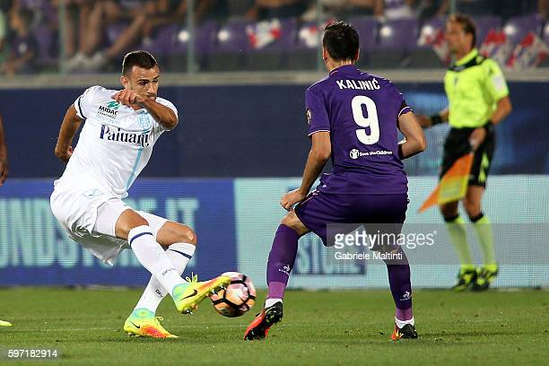 Josip Ilicic of ACF Fiorentina fights for the ball with Ivan Radovanovic of AC Chievo Verona during the Serie A match between ACF Fiorentina and AC...