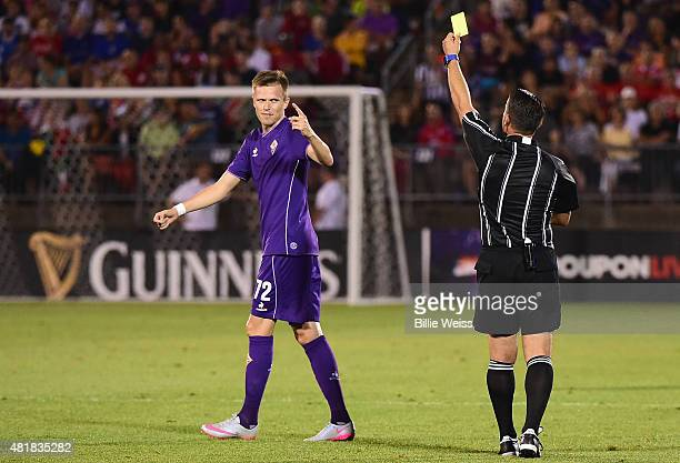 Josip Ilicic of ACF Fiorentina reacts after receiving a yellow card during the first half of an International Champions Cup 2015 match against SL...