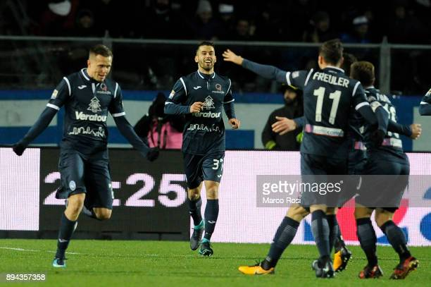 Josip Ilicic of Atalanta BC ccelebates a second goal during the Serie A match between Atalanta BC and SS Lazio at Stadio Atleti Azzurri d'Italia on...