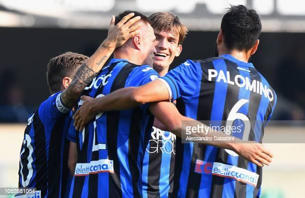 Josip Ilicic of Atalanta BC celebrates after scoring his team second goal during the Serie A match between Chievo Verona and Atalanta BC at Stadio...