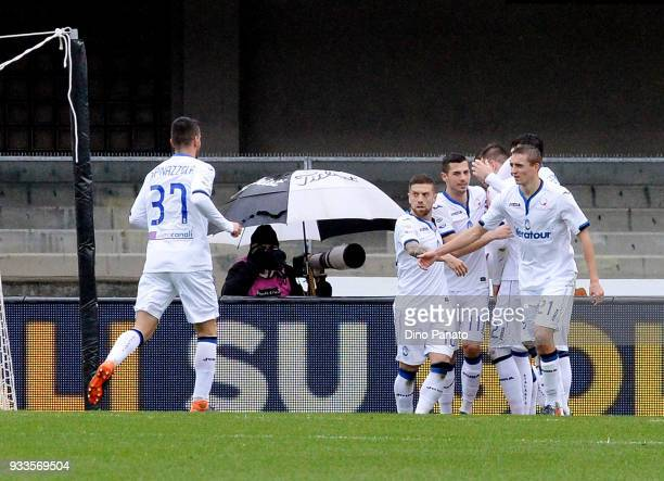 Josip Ilicic of Atalanta BC celebrates after scoring his team's second goal goal from the penalty spot during the serie A match between Hellas Verona...