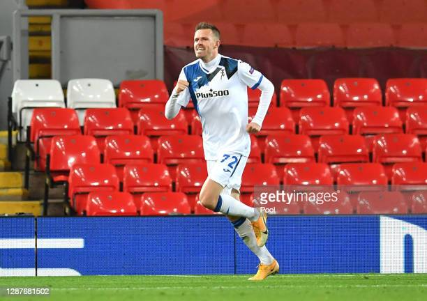 Josip Ilicic of Atalanta B.C. Celebrates after scoring their team's first goal during the UEFA Champions League Group D stage match between Liverpool...