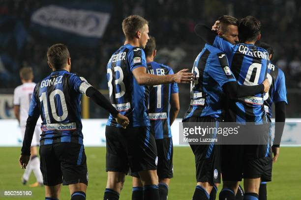 Josip Ilicic of Atalanta BC celebrates his goal with his teammate Bryan Cristante during the Serie A match between Atalanta BC and FC Crotone at...