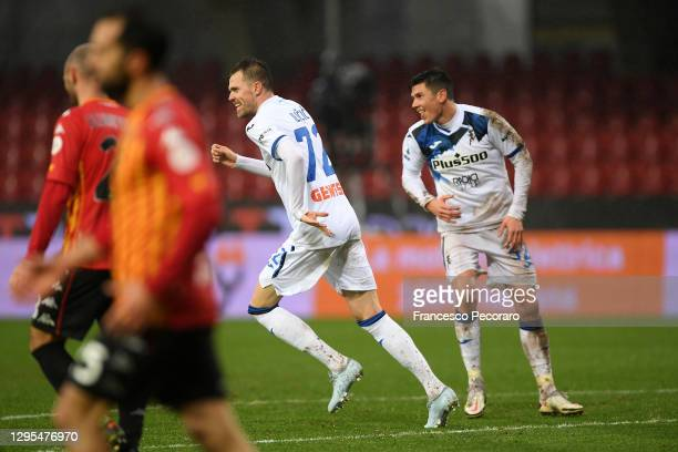 Josip Ilicic of Atalanta B.C. Celebrates with Matteo Pessina after scoring their team's first goal during the Serie A match between Benevento Calcio...